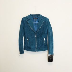 Blue Leather Jacket by Pamela McCoy, Size (XS).